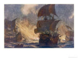 The Spanish Armada the Spanish Fleet is Dispersed by Fireships in the Calais Roads Giclee Print by Norman Wilkinson