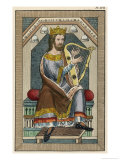 Man in a Regal State Habit Playing the Harp Giclee Print by Joseph Strutt
