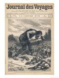 Francophile Giant Drives Back the Saracens Giclee Print by Edouard Zier