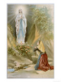 Bernadette Soubirous While Gathering Firewood Sees the Virgin Mary in the Rocky Grotto at Lourdes Lámina giclée