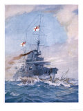 Hms Birmingham Commanded by Captain Arthur Duff Ramming the German Submarine U15 Giclee Print by H.g. Swanwick