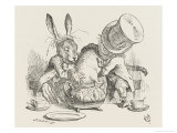 The Hatter's Mad Tea Party the Hatter and the Hare Put the Dormouse in the Tea-Pot Stampa giclée premium di Tenniel, John