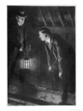 The Sign of Four Holmes and Watson Examine Footprints in the Attic Giclee Print by F.h. Townsend