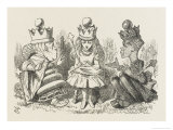 Two Queens Alice with the Two Queens Stampa giclée di Tenniel, John