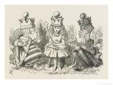 Two Queens Alice with the Two Queens Lámina giclée por Tenniel, John