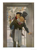 "Bob Cratchit with ""Tiny Tim"" His Crippled Youngest Son Reproduction procédé giclée par Jessie Willcox-Smith"