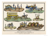 French Lead Toy Soldiers with Horses Carts Artillery and Other Equipment Giclee Print