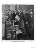 Alexander Graham Bell American Inventor and Educator Inaugurates the New York- Chicago Telephone - Giclee Baskı