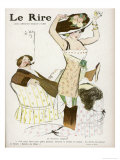 Young Woman in Corset Chemise and Stockings Secures Her New Hat Giclee Print by Jacques Wely