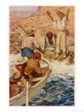 Explorers Eyre and Wylie Reach the Sea Where They are Rescued by French Whalers Giclee Print by W.r. Stott