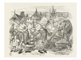 The Hatter with Alice the White King the Rabbit Messenger and the Lion Stampa giclée premium di Tenniel, John