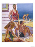 Young Men and Women Smoking and Enjoying Themselves on the Beach Giclee Print