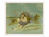 Fairy Rides a Rat Carrying a Lantern to Warn Other Traffic of Their Approach Giclee Print by Emily Gertrude Thomson