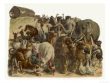 The Animals Emerge Two by Two from Noah's Ark Stampa giclée