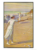 Mixed Doubles by the Sea Giclee Print by L. Tanquerey