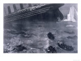 Lifeboats in the Freezing Choppy Waters Frantically Row Away from the Doomed Wreck of the Titanic Giclee Print