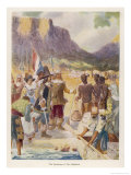 Jan Van Riebeeck Lands in Table Bay Where He Founds Cape Town Giclee Print by G.s. Smithard