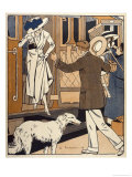 Lady is Welcomed as She Arrives at a Station Giclee Print by Ed Touraine