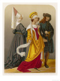 Two Women and a Man in Medieval Dress Giclee Print