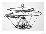 Leonardo Da Vinci Sketch of a Flying Machine Reproduction proc&#233;d&#233; gicl&#233;e