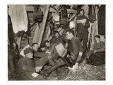 British Soldiers off Duty Smoking and Listening to an Accordion at the Front Somewhere in Flanders Giclee Print
