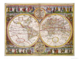 New and Accurate Map of the World Drawn According to the Best and Late Discoveries of 1670 Giclee Print