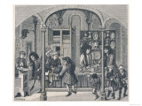 Shops Under a Covered Market in France Including a Goldsmith a Shoemaker and a Dealer in Snuff Giclee Print