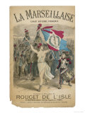 Bare Chested Marianne Raises Her Sword and Rebublican Flag and Leads the French Army Giclee Print