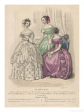 Two Gowns with Corsage En Coeur One with a Fringed Bertha Giclee Print by Alphonse Vien