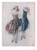 Two Happy Flappers Wear Soft Wide Brimmed Hats and Gathered Skirts That Catch the Breeze Giclee Print by Wilton Williams