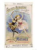 Programmes a Programme Cover for the Famous Folies Bergere Cabaret in Paris Giclee Print