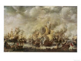 Sea Fight Between the English and the Dutch off the Coast of Ter Heyde Giclee Print