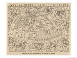 1545 Map from Basel Switzerland Depicting the World as Known to Ptolemy in the 2nd Century Giclee Print