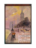 By Rail and Sea from Paris to Brighton or London Featuring the Embankment and Big Ben 6 of 8 Impression giclée par Maurice Toussaint
