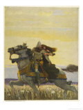 Lancelot Rescues Guinevere from the Stake and Carries Her off on Horseback Giclee Print by Newell Convers Wyeth