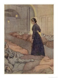 In Scutari Florence Nightingale Checks Patients During the Night Giclee Print by M.v. Wheelhouse