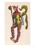 "French Jester Holding a ""Ninny Stick"" or ""Fool's Wand"" a Stick with the Effigy of a Jester's Head, Giclee Print"