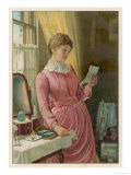 She Reads a Letter at Her Dressing Table Giclee Print by Steer