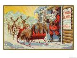Santa and Sleigh Giclee Print