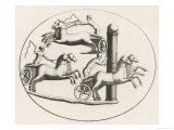 Three Two-Horse Chariots Racing in an Arena Giclee Print