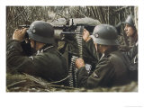 German Machine-Gun Crew Ready and Waiting Premium Giclee Print by Unsere Wehrmacht