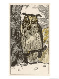 Winking Owl Perched on a Branch, by the Look of It It's an Eagle Owl Giclee Print by A Weisgerber