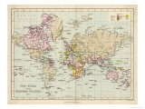 World Map Showing the European Colonies Giclee Print by F.s. Weller