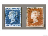 Penny Red and Tuppenny Blue Stamps Giclee Print