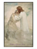 Leo Tolstoy the Russian Novelist Embracing Jesus Giclee Print by Jan Styka