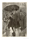 Jonas Hanway Pioneers the First Umbrella in London Giclee Print by Richard Caton Woodville