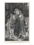 Red Riding Hood Smiles Down on the Wolf. the Wolf Shows His Teeth in Reply Giclee Print
