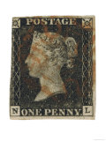 Penny Black Stamp with Red Maltese Cross Franking Giclee Print