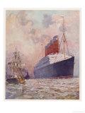 Cunard Passenger Liner Giclee Print by C.e. Turner