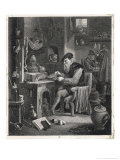 An Alchemist Obsessed with His Quest Works at His Furnace Giclee Print by David Teniers the Younger